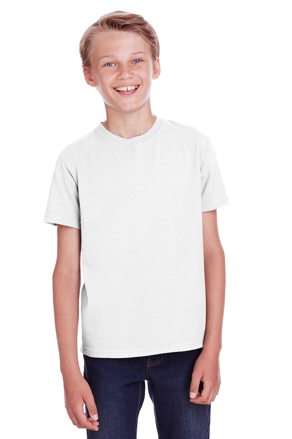 ComfortWash by Hanes GDH175 Youth Short Sleeve Crewneck T-Shirt White Front