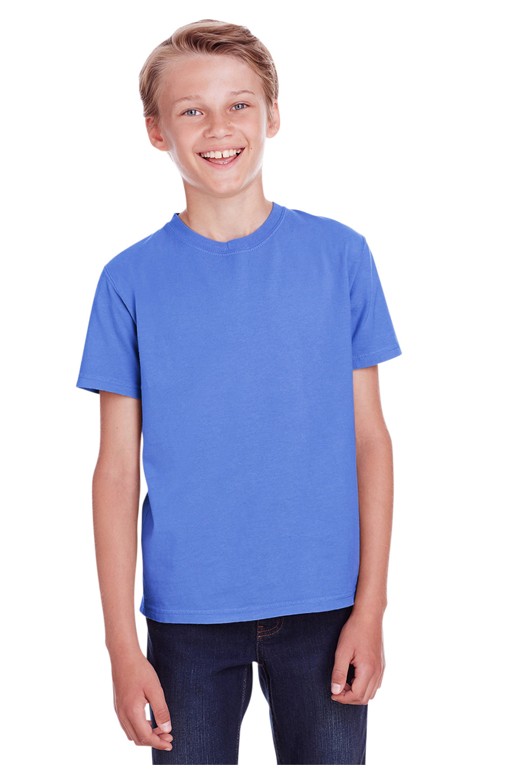 ComfortWash by Hanes GDH175 Youth Short Sleeve Crewneck T-Shirt Deep Forte Blue Front
