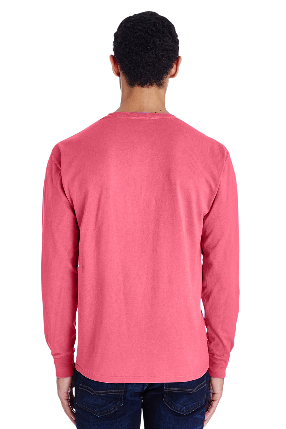 ComfortWash By Hanes GDH200 Mens Long Sleeve Crewneck T-Shirt Crimson Red Back