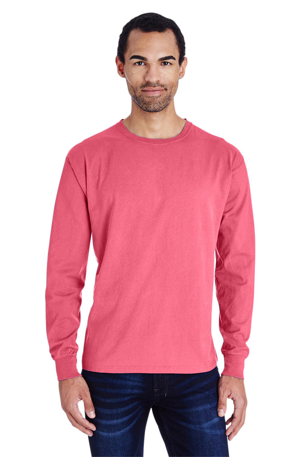 ComfortWash By Hanes GDH200 Mens Long Sleeve Crewneck T-Shirt Crimson Red Front