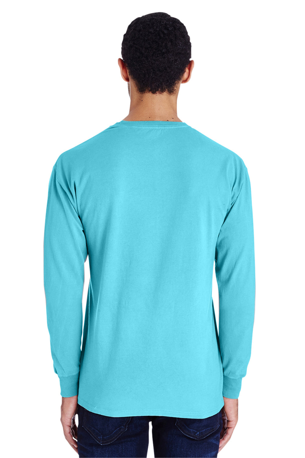 ComfortWash by Hanes GDH200 Long Sleeve Crewneck T-Shirt Freshwater Blue Back