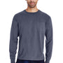 ComfortWash By Hanes Mens Long Sleeve Crewneck T-Shirt w/ Pocket - Anchor Slate Blue