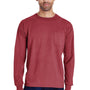 ComfortWash by Hanes Mens Long Sleeve Crewneck T-Shirt w/ Pocket - Cayenne Red