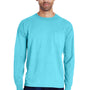 ComfortWash by Hanes Mens Long Sleeve Crewneck T-Shirt w/ Pocket - Freshwater Blue