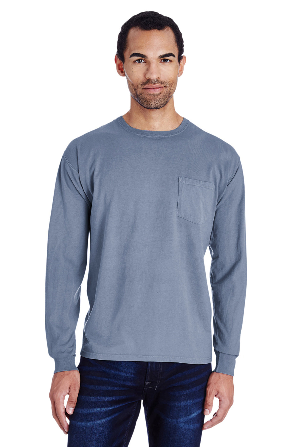 ComfortWash by Hanes GDH250 Long Sleeve Crewneck T-Shirt w/ Pocket Saltwater Blue Front