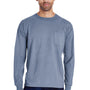 ComfortWash by Hanes Mens Long Sleeve Crewneck T-Shirt w/ Pocket - Saltwater Blue