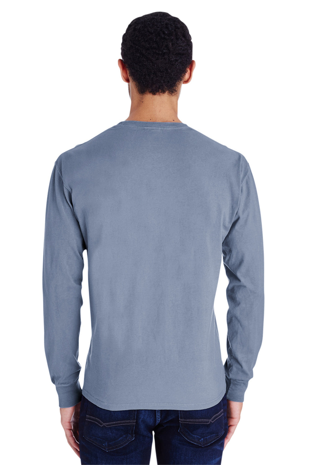 ComfortWash by Hanes GDH250 Long Sleeve Crewneck T-Shirt w/ Pocket Saltwater Blue Back