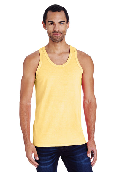 ComfortWash By Hanes GDH300 Mens Tank Top Yellow Front