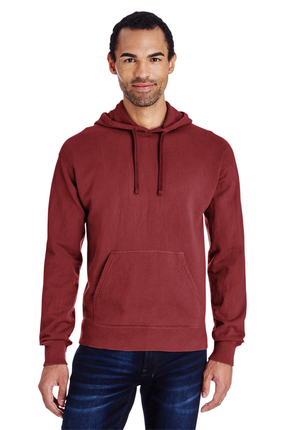 ComfortWash by Hanes GDH450 Hooded Sweatshirt Hoodie Cayenne Red Front