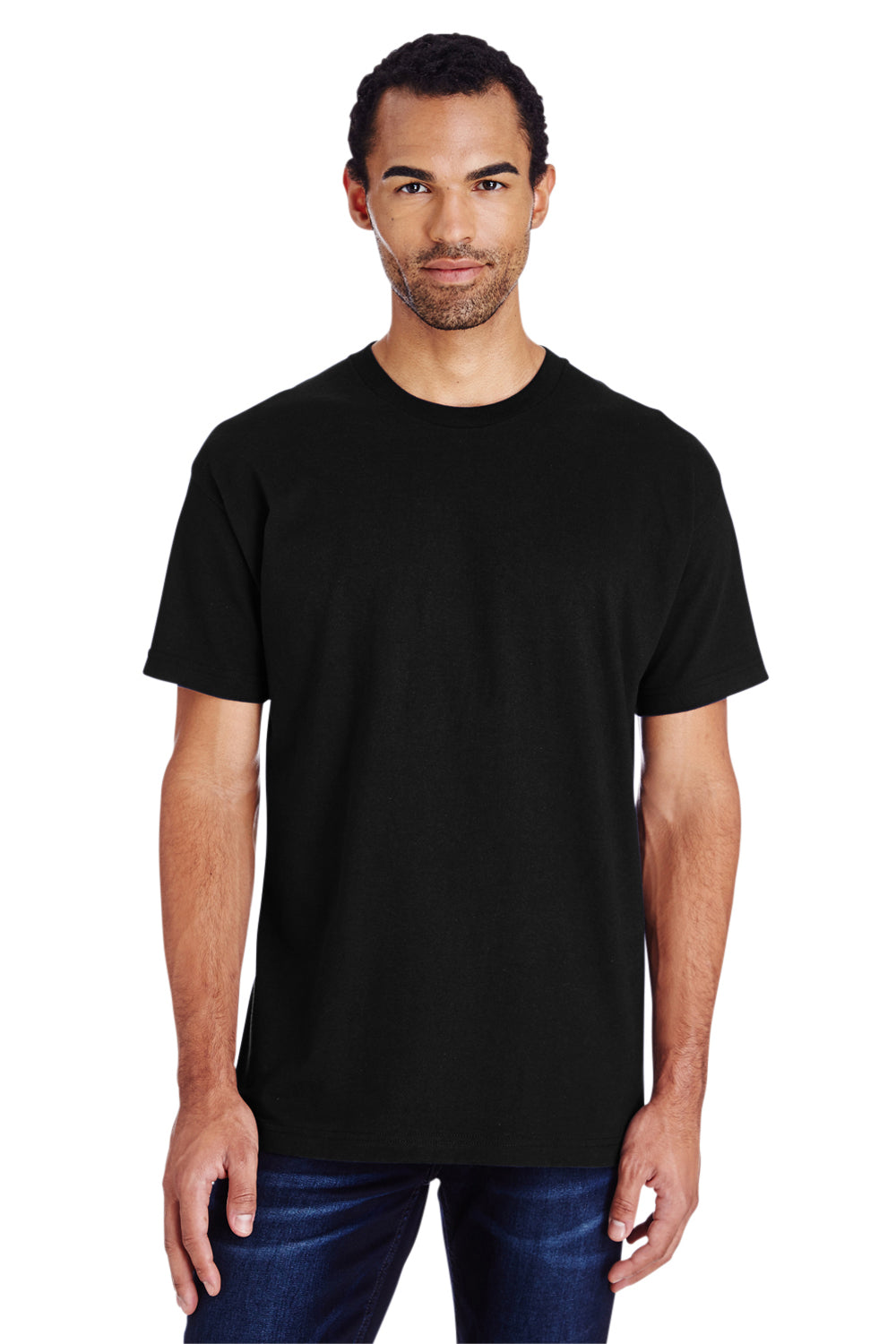 Gildan H000 Mens Hammer Short Sleeve Crewneck T-Shirt Black Front