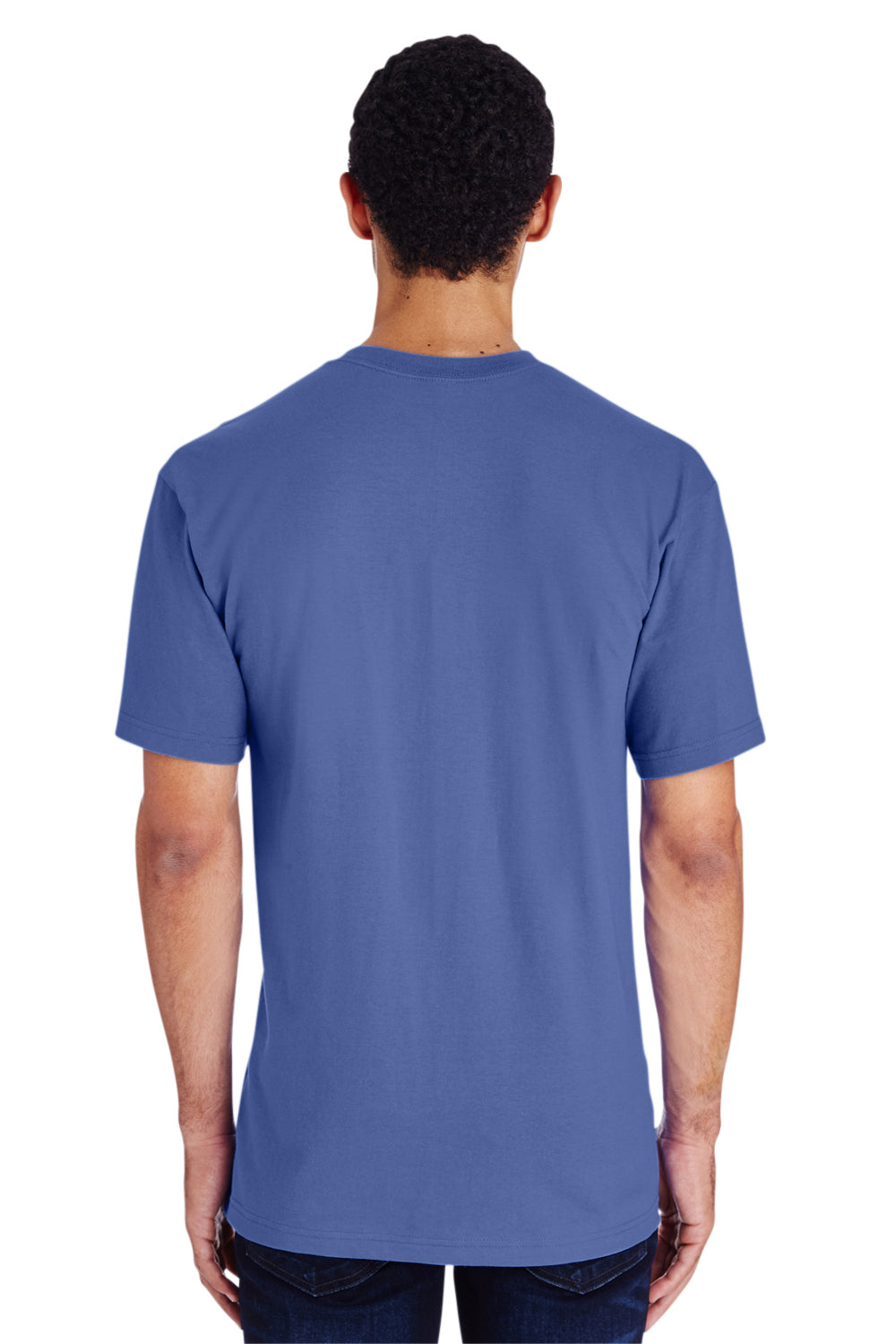 Gildan H000 Mens Hammer Short Sleeve Crewneck T-Shirt Flo Blue Back