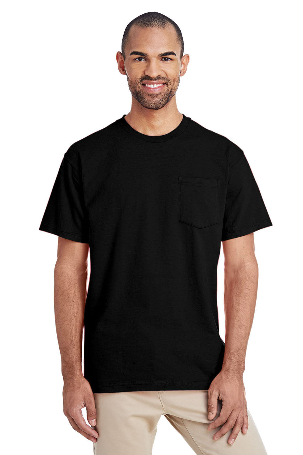 Gildan H300 Mens Hammer Short Sleeve Crewneck T-Shirt w/ Pocket Black Front