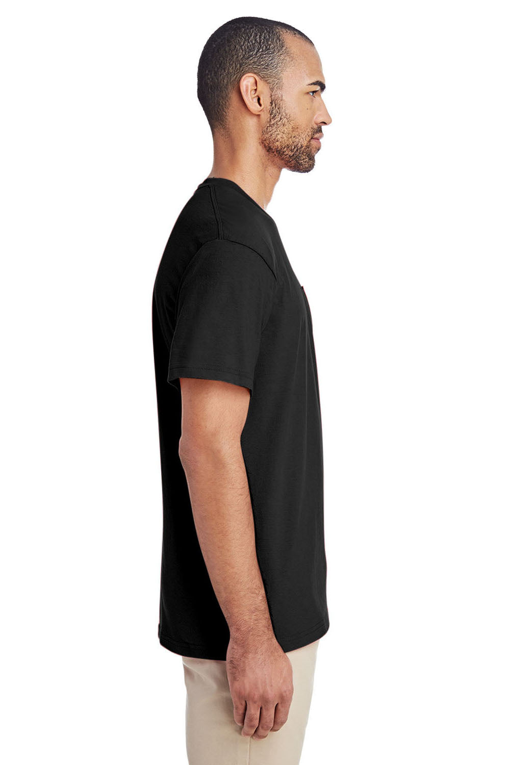 Gildan H300 Mens Hammer Short Sleeve Crewneck T-Shirt w/ Pocket Black Side