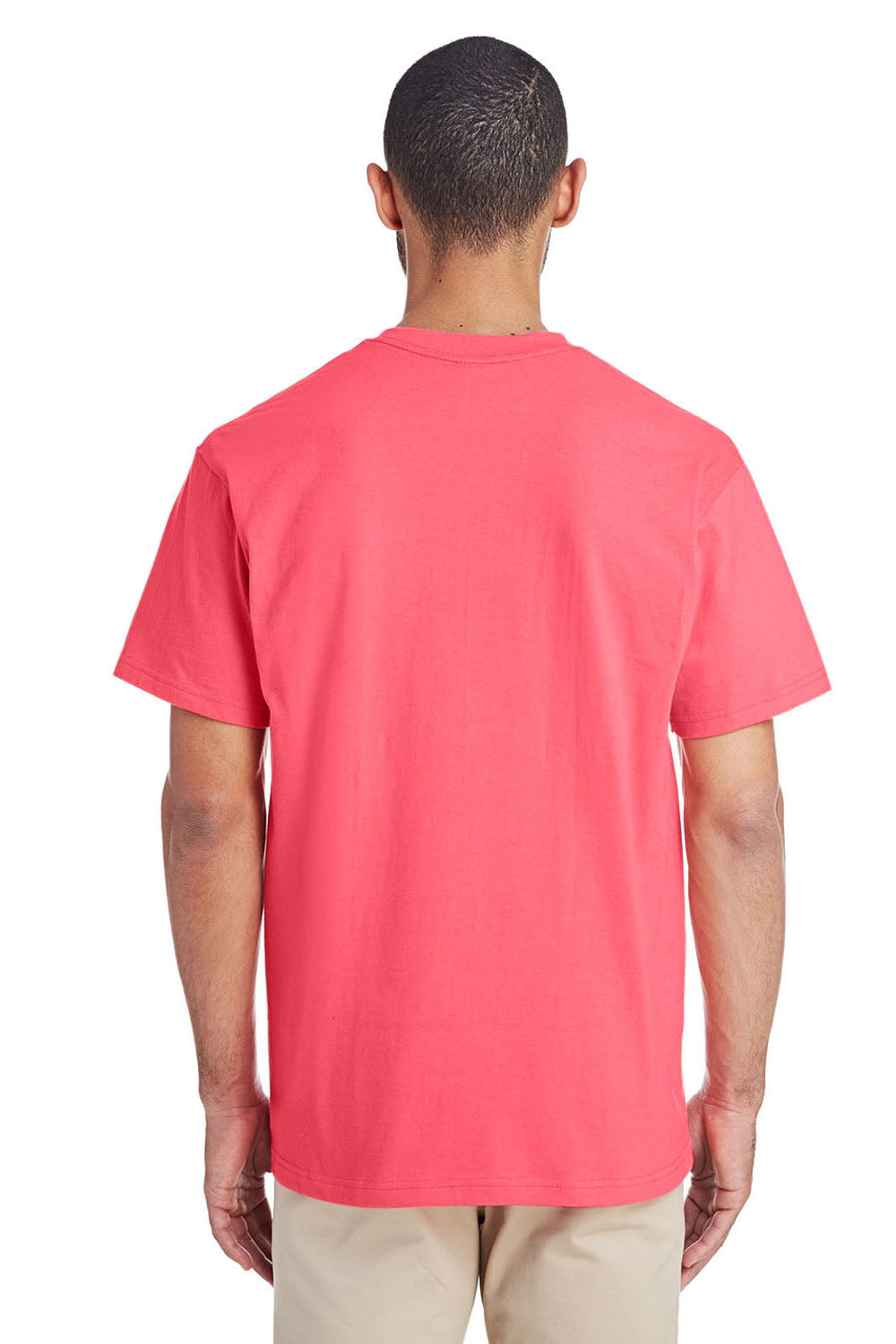 Gildan H300 Mens Hammer Short Sleeve Crewneck T-Shirt w/ Pocket Coral Silk Pink Back