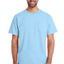 Gildan Mens Hammer Short Sleeve Crewneck T-Shirt w/ Pocket - Chambray Blue