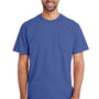 Gildan Mens Hammer Short Sleeve Crewneck T-Shirt w/ Pocket - Flo Blue