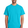 Gildan Mens Hammer Short Sleeve Crewneck T-Shirt w/ Pocket - Lagoon Blue