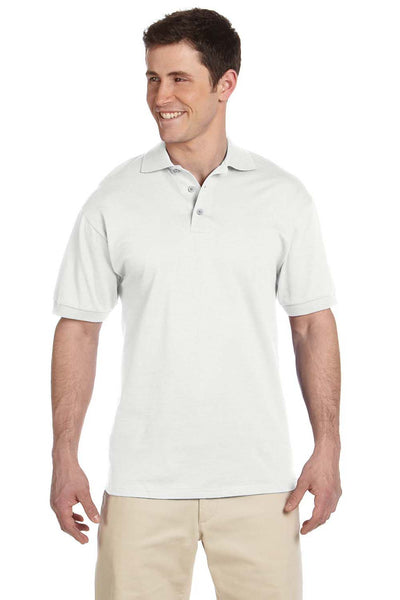Jerzees J100 Mens Short Sleeve Polo Shirt White Front