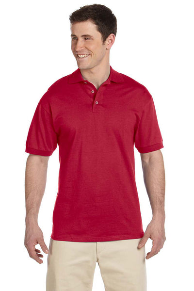 Jerzees J100 Mens Short Sleeve Polo Shirt Red Front