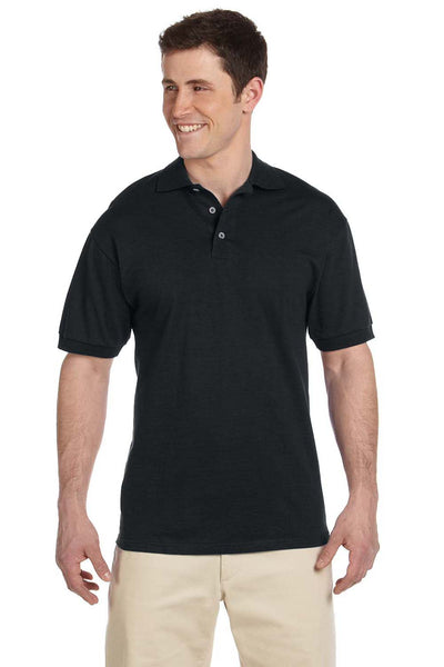 Jerzees J100 Mens Short Sleeve Polo Shirt Black Front