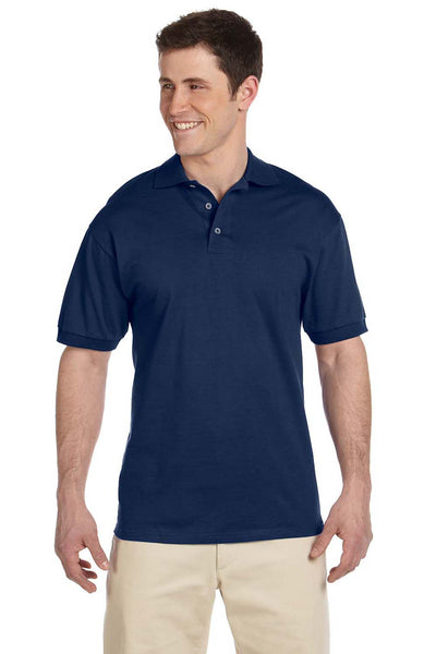 Jerzees J100 Mens Short Sleeve Polo Shirt Navy Blue Front