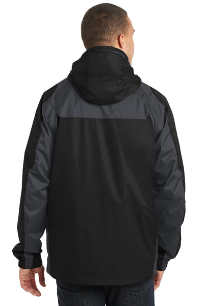 Port Authority J310 Mens Ranger 3-in-1 Waterproof Full Zip Hooded Jacket Black/Ink Grey Back