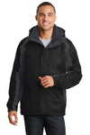 Port Authority J310 Mens Ranger 3-in-1 Waterproof Full Zip Hooded Jacket Black/Ink Grey Front