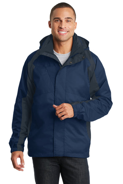 Port Authority J310 Mens Ranger 3-in-1 Waterproof Full Zip Hooded Jacket Insignia Blue/Navy Blue Front