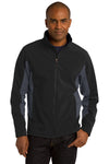 Port Authority J318 Mens Core Wind & Water Resistant Full Zip Jacket Black/Grey Front