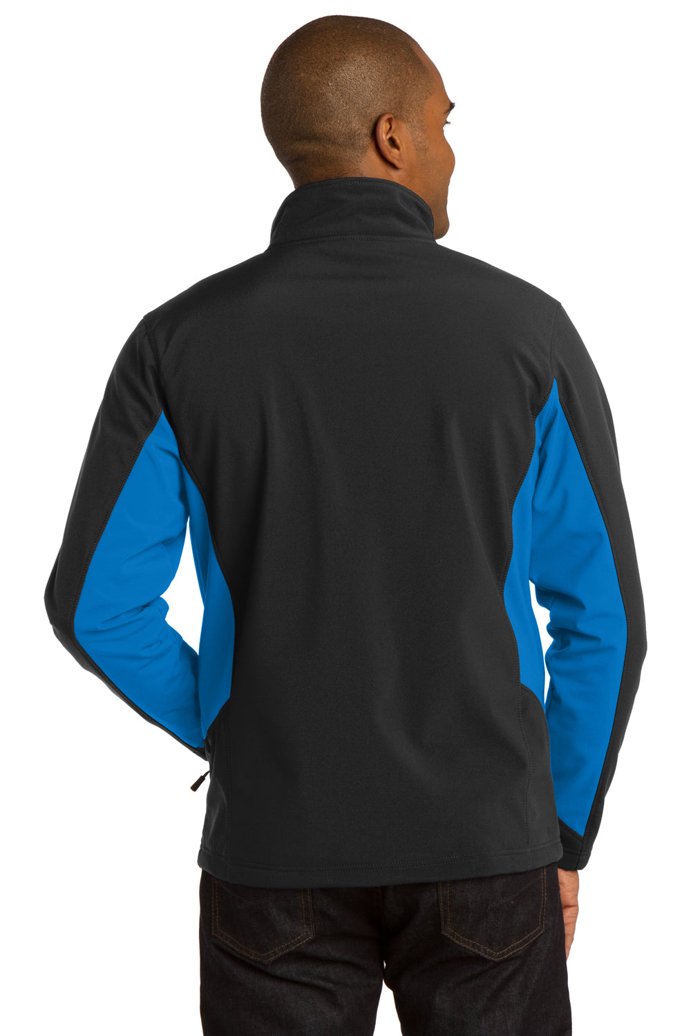 Port Authority J318 Mens Core Wind & Water Resistant Full Zip Jacket Black/Royal Blue Back