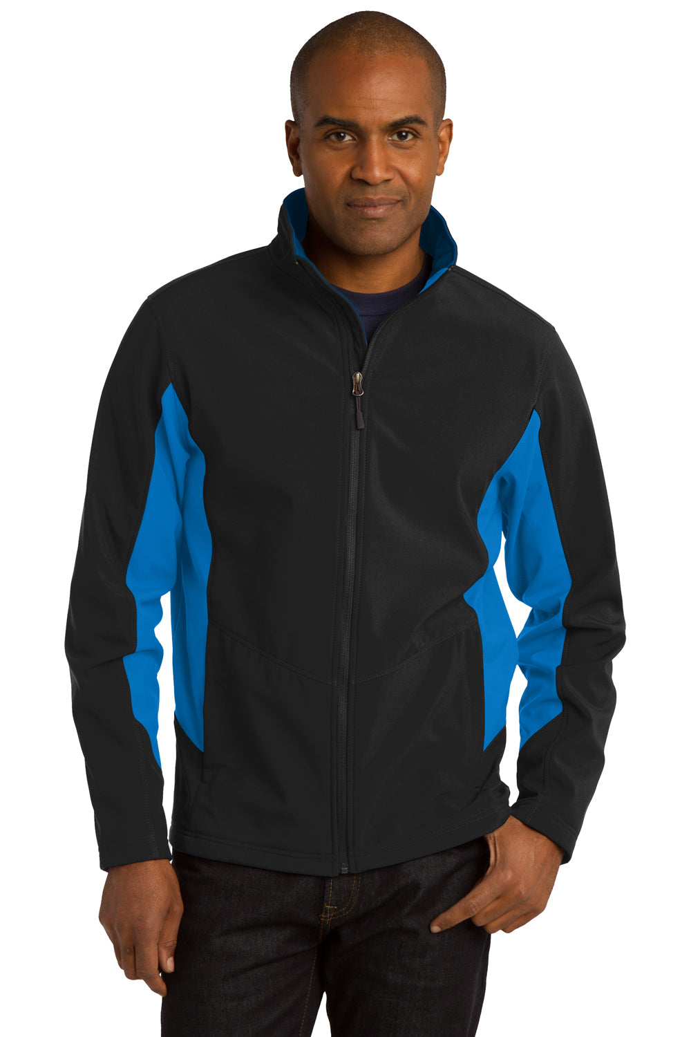 Port Authority J318 Mens Core Wind & Water Resistant Full Zip Jacket Black/Royal Blue Front