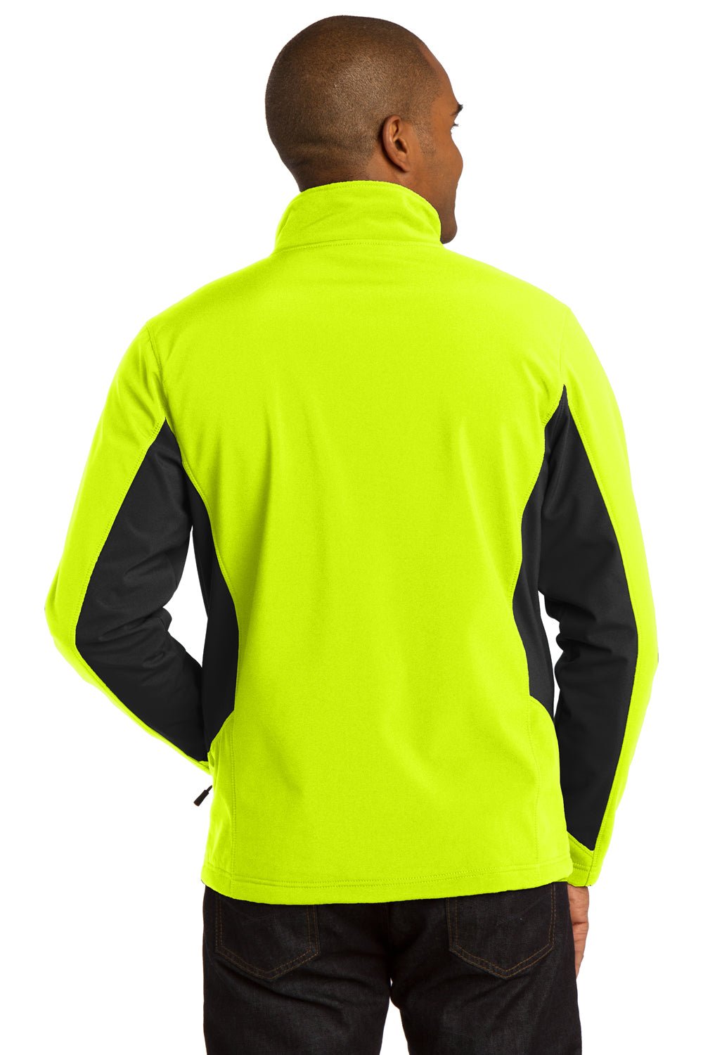 Port Authority J318 Mens Core Wind & Water Resistant Full Zip Jacket Safety Yellow/Black Back