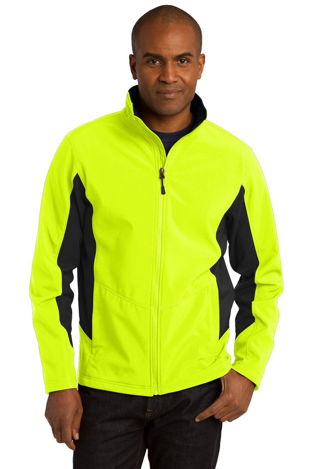 Port Authority J318 Mens Core Wind & Water Resistant Full Zip Jacket Safety Yellow/Black Front