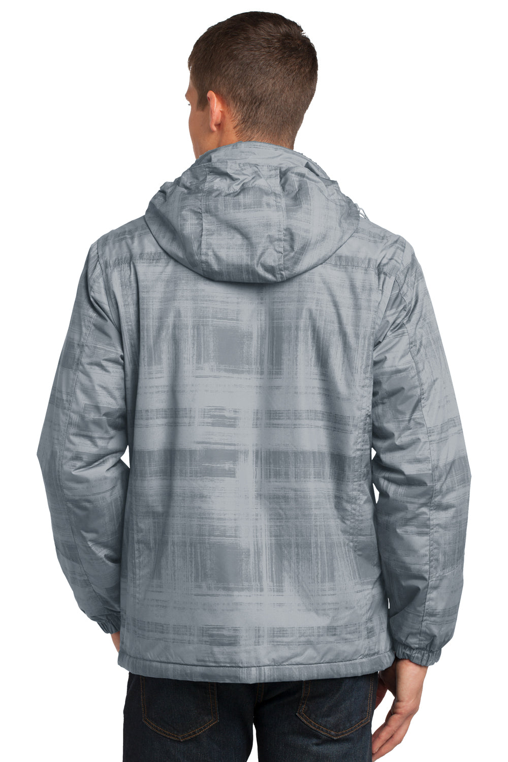 Port Authority J320 Mens Brushstroke Wind & Water Resistant Full Zip Hooded Jacket Grey Brushstroke Back