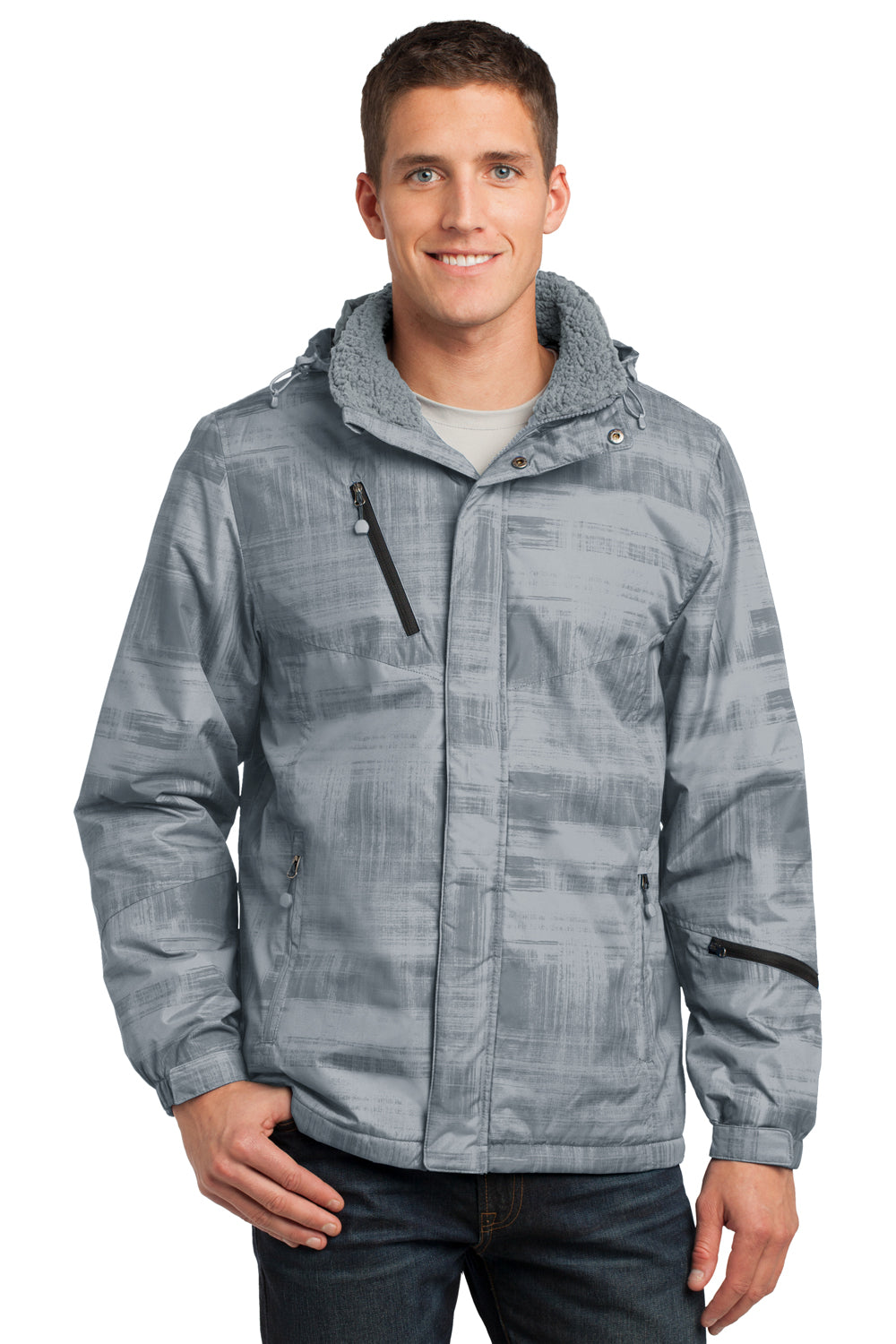 Port Authority J320 Mens Brushstroke Wind & Water Resistant Full Zip Hooded Jacket Grey Brushstroke Front