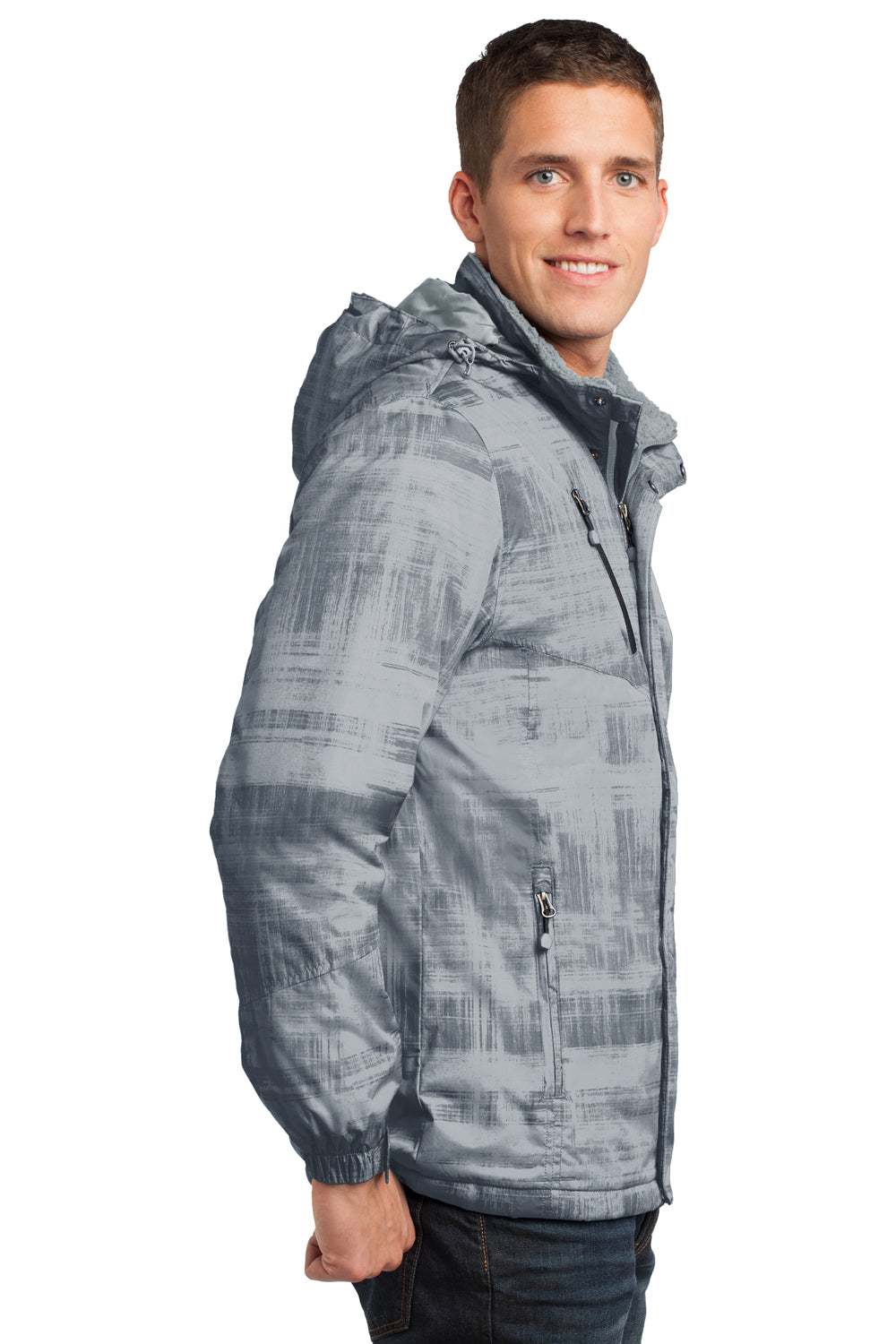 Port Authority J320 Mens Brushstroke Wind & Water Resistant Full Zip Hooded Jacket Grey Brushstroke Side