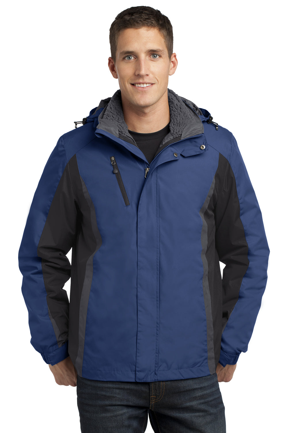 Port Authority J321 Mens 3-in-1 Wind & Water Resistant Full Zip Hooded Jacket Admiral Blue/Black/Grey Front