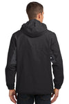 Port Authority J322 Mens Cascade Waterproof Full Zip Hooded Jacket Black/Grey Back
