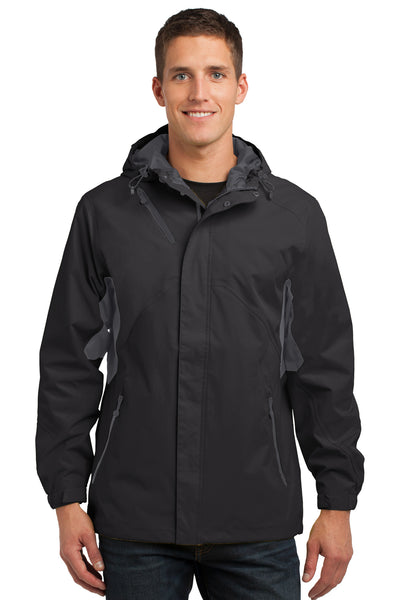 Port Authority J322 Mens Cascade Waterproof Full Zip Hooded Jacket Black/Grey Front