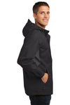 Port Authority J322 Mens Cascade Waterproof Full Zip Hooded Jacket Black/Grey Side