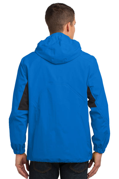 Port Authority J322 Mens Cascade Waterproof Full Zip Hooded Jacket Imperial Blue/Black Back