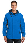 Port Authority J322 Mens Cascade Waterproof Full Zip Hooded Jacket Imperial Blue/Black Front