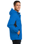 Port Authority J322 Mens Cascade Waterproof Full Zip Hooded Jacket Imperial Blue/Black Side