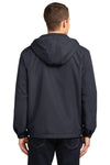 Port Authority J327 Mens Charger Wind & Water Resistant Full Zip Hooded Jacket Battleship Grey Back