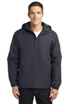 Port Authority J327 Mens Charger Wind & Water Resistant Full Zip Hooded Jacket Battleship Grey Front