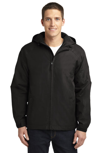 Port Authority J327 Mens Charger Wind & Water Resistant Full Zip Hooded Jacket Black Front