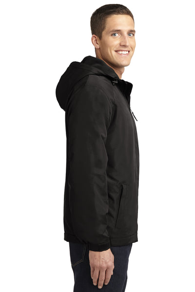 Port Authority J327 Mens Charger Wind & Water Resistant Full Zip Hooded Jacket Black Side