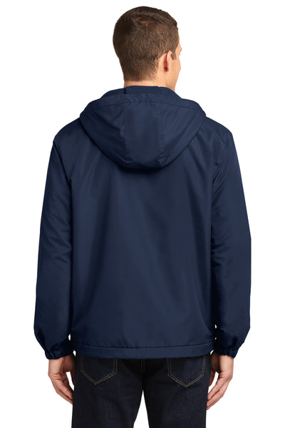 Port Authority J327 Mens Charger Wind & Water Resistant Full Zip Hooded Jacket Navy Blue Back