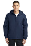 Port Authority J327 Mens Charger Wind & Water Resistant Full Zip Hooded Jacket Navy Blue Front