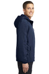 Port Authority J327 Mens Charger Wind & Water Resistant Full Zip Hooded Jacket Navy Blue Side
